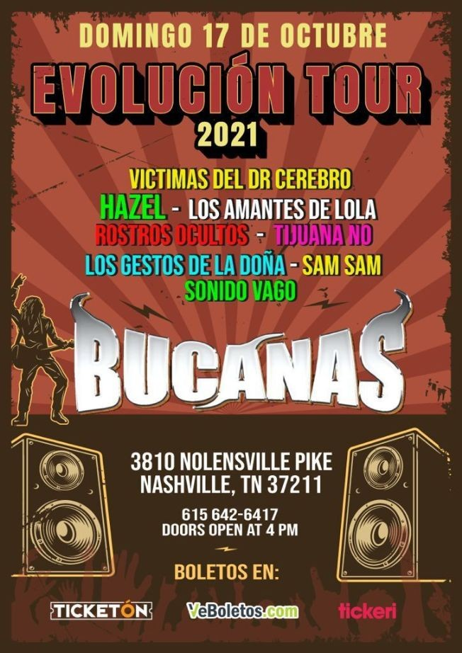 Flyer for VICTIMAS DEL DOCTOR CEREBRO, LOS AMANTES DE LOLA, LOS GESTOS DE LA DOÑA, HAZEL EN VIVO ! EVOLUCION TOUR-NASHVILLE TENNESSEE