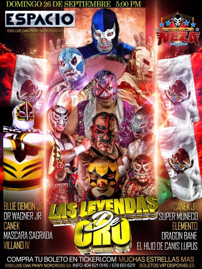 Flyer for PROMOCIONES NEZA PRESENTA: VIVA MEXICO LAS LEYENDAS DE ORO