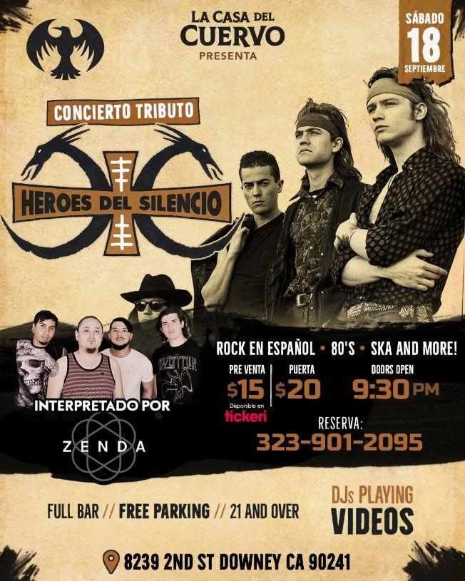 Flyer for HEROES DEL SILENCIO CONCIERTO TRIBUTO POR ZENDA