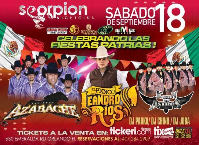 Flyer for CONJUNTO AZABACHE, EL PENCO LEANDRO RIOS, KIKIN Y LOS ASTROS EN VIVO ! ORLANDO FLORIDA