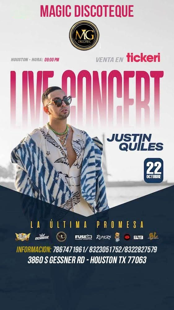 Flyer for Justin Quiles Live Concert