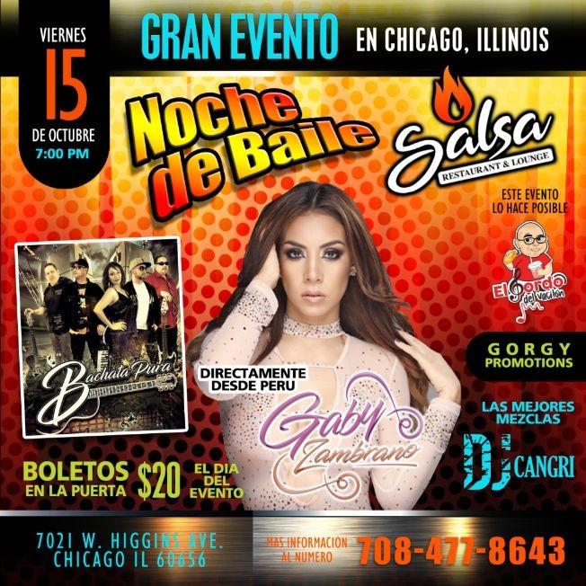 Flyer for NOCHE DE BAILE CON GABY ZAMBRANO (CHICAGO)