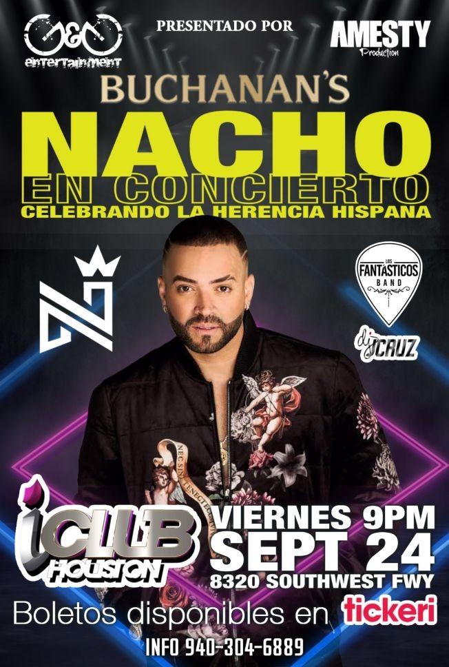 Flyer for NACHO en Concierto! Con Los Fantásticos