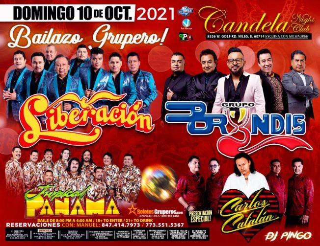 Flyer for GRUPO LIBERACION, GRUPO BRYNDIS, TROPICAL PANAMA Y CARLOS CATALAN EN VIVO ! NILES ILLINOIS