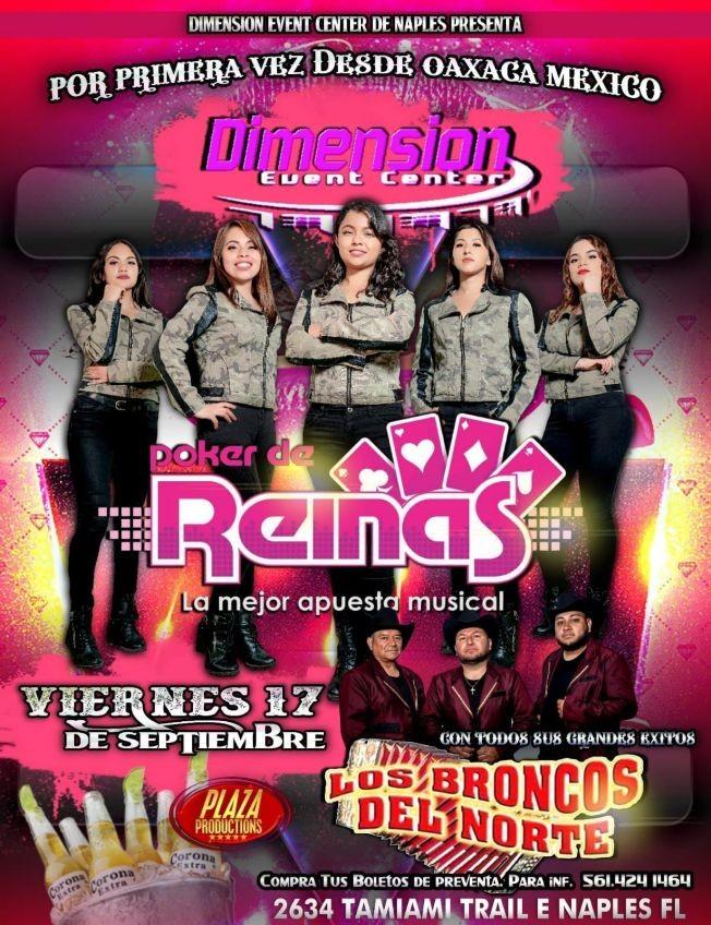 Flyer for POKER DE REINAS LA MEJOR APUESTA MUSICAL, LOS BRONCOS DEL NORTE  EN VIVO ! NAPLES FLORIDA