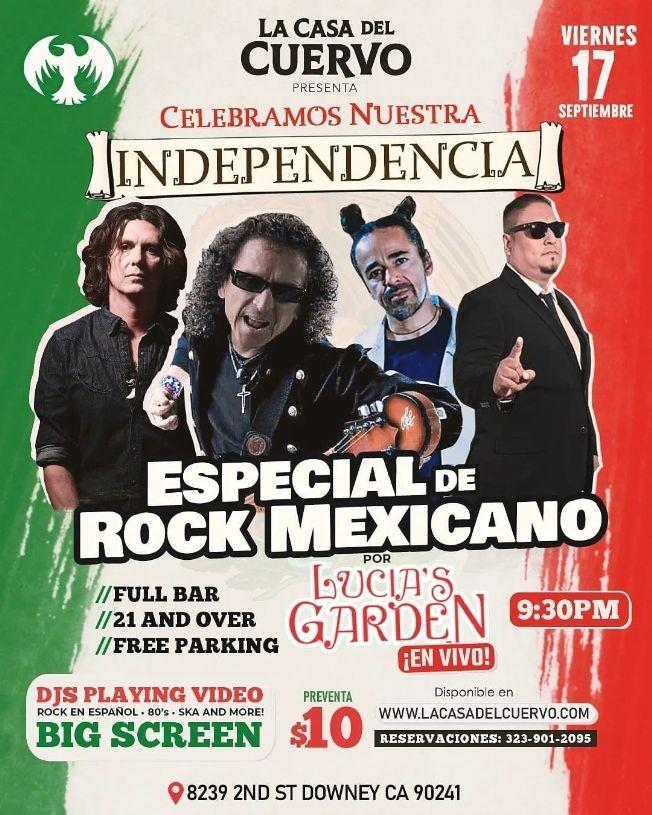 Flyer for ESPECIAL DE ROCK MEXICANO EN VIVO CON LUCIA'S GARDEN. CELEBRACION DIA DE LA INDEPENDENCIA