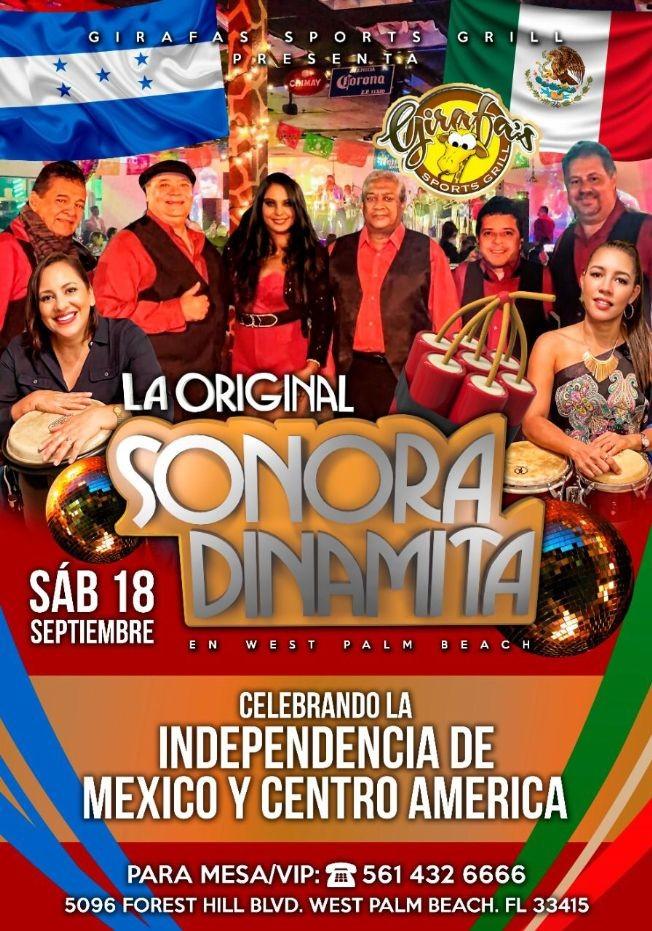 Flyer for La Sonora Dinamita en West Palm Beach Florida