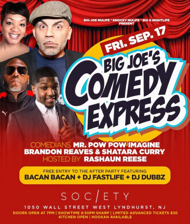 Flyer for Big Joe Comedy Express At Society Lounge
