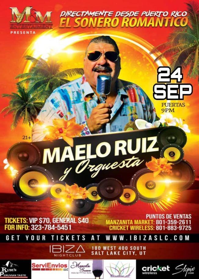 Flyer for MAELO RUIZ Y SU ORQUESTA EN CONCIERTO - SALT LAKE CITY UTAH