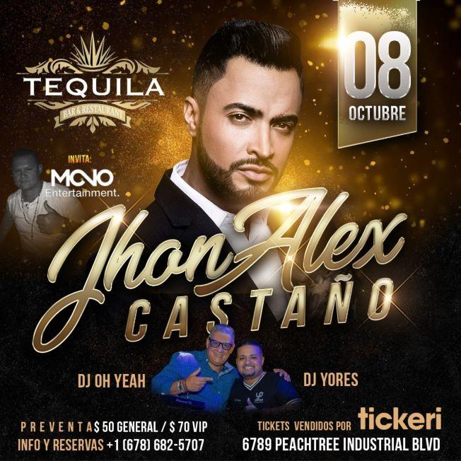 Flyer for JHON ALEX CASTAÑO EN CONCIERTO - TODOS SOMOS VIP -ATLANTA GEORGIA