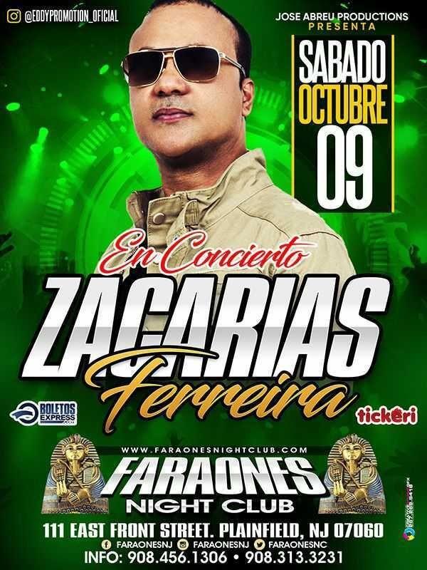 Flyer for ZACARIAS FERREIRA EN CONCIERTO ! PLAINFIELD NEW JERSEY