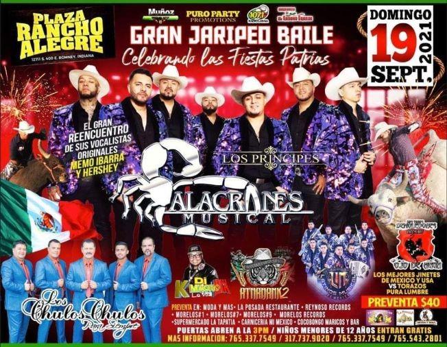 Flyer for ALACRANES MUSICAL, LOS PRINCIPES, LOS CHULOS CHULOS PARA SIEMPRE, LATINOS MUSICAL DE MEXICO EN VIVO ! ROMNEY INDIANA