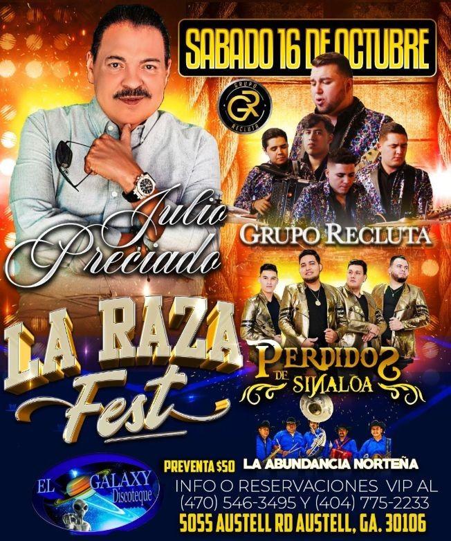 Flyer for JULIO PRECIADO, GRUPO RECLUTA, PERDIDOS DE SINALOA, LA ABUNDANCIA NORTEÑA EN CONCIERTO ! AUSTELL ROAD canceled