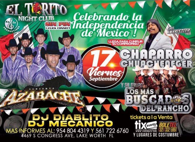 Flyer for CONJUNTO AZABACHE, CHAPARRO CHUACHENEGER Y SU GRUPO LOS MAS BUSCADOS DEL RANCHO EN VIVO ! LAKE WORTH FLORIDA