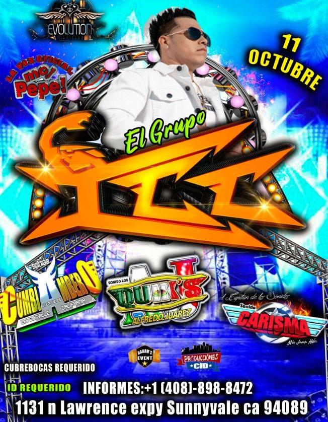 Flyer for GRUPO ICC EN CONCIERTO - SONIDO CUMBIAMBERO - SONIDO QUICKS - SONIDO CARISMA - SUNNYVALE CALIFORNIA