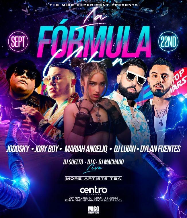 Flyer for LA FORMULA URBANA AT CENTRO IN WYNWOOD MIAMI LATIN MUSIC WEEK