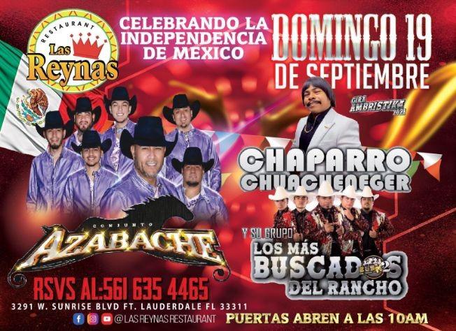 Flyer for CONJUNTO AZABACHE, CHAPARRO CHUACHENEGER Y SU GRUPO LOS MAS BUSCADOS DEL RANCHO EN VIVO ! FORT LAUDERDALE FLORIDA