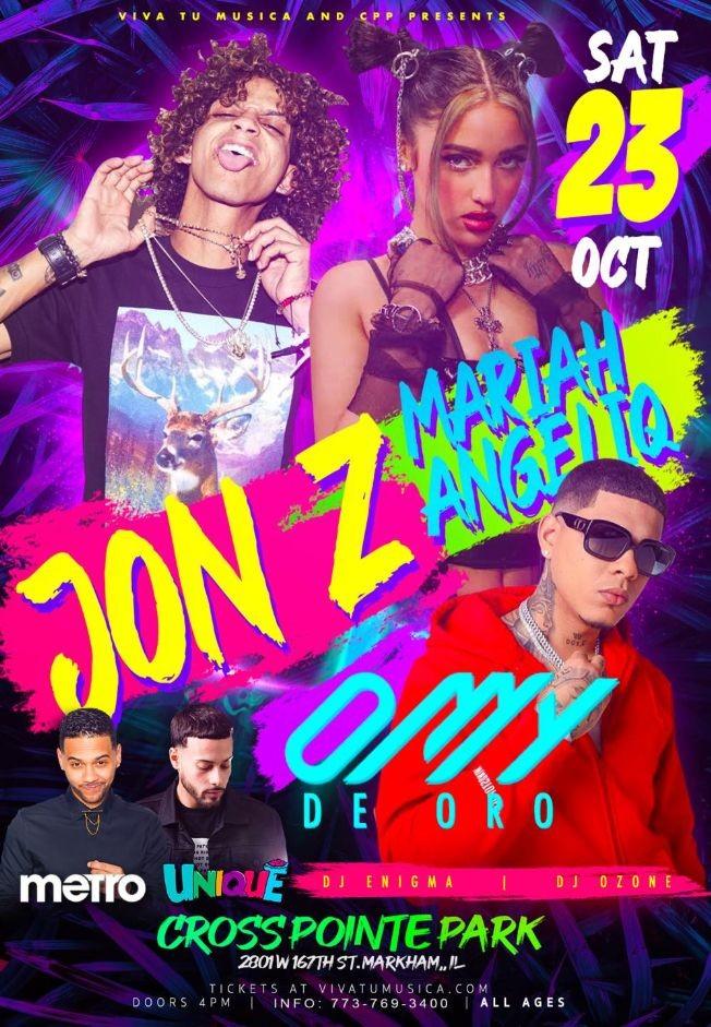 Flyer for CROSS POINTE PARK PRESENTS: JON-Z - MARIAH ANGELIQ - OMY DE ORO - HAZEL CREST ILLINOIS