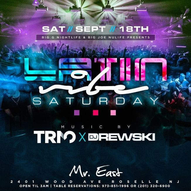 Flyer for Latin Vibe Saturdays At Mister East