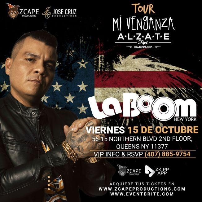"Flyer for ALZATE EN NEW YORK ""MI VENGANZA TOUR"""