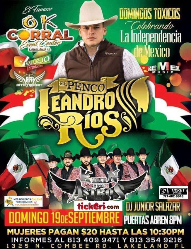 """Flyer for LEANDRO RIOS """" EL PENCO """", KIKIN Y LOS ASTROS EN VIVO ! LAKELAND FLORIDA"""