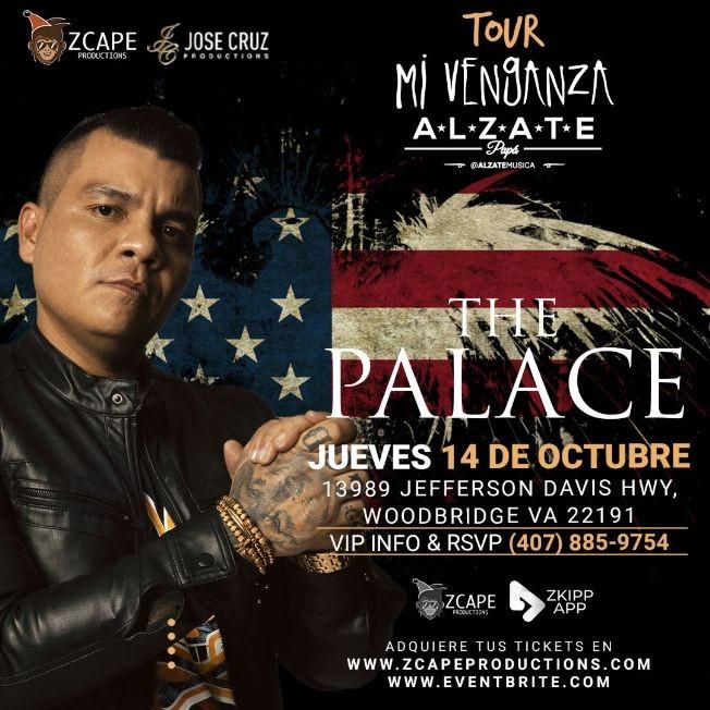 "Flyer for ALZATE EN VIRGINIA ""MI VENGANZA TOUR"""