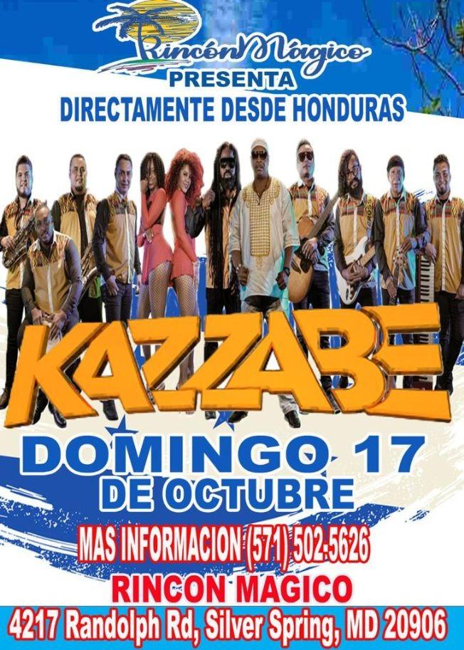 Flyer for KAZZABE EN VIVO ! SILVER SPRING MARYLAND