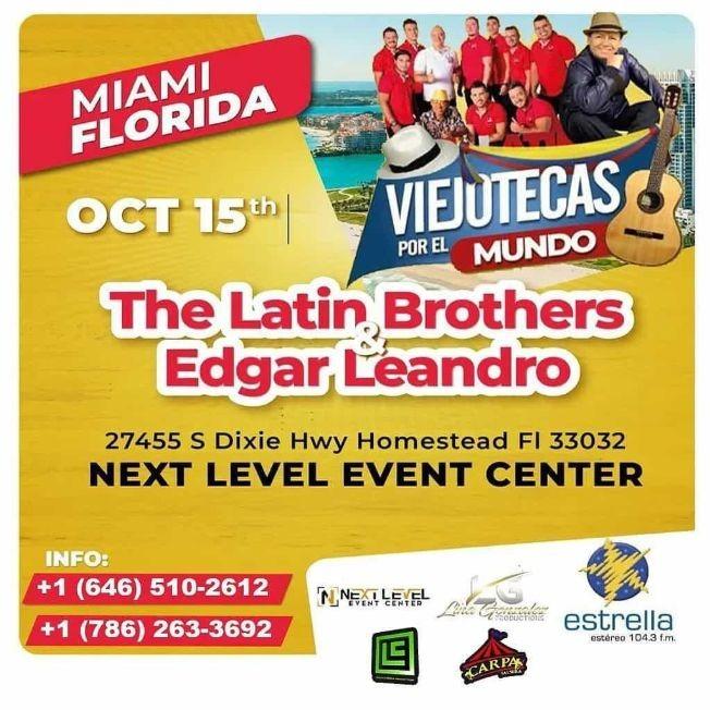 Flyer for THE LATIN BROTHERS & EDGAR  LEANDRO EN VIVO ! MIAMI FLORIDA - POSTERGADO