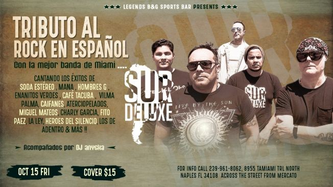 Flyer for Tributo al Rock en español con la banda SurDelux
