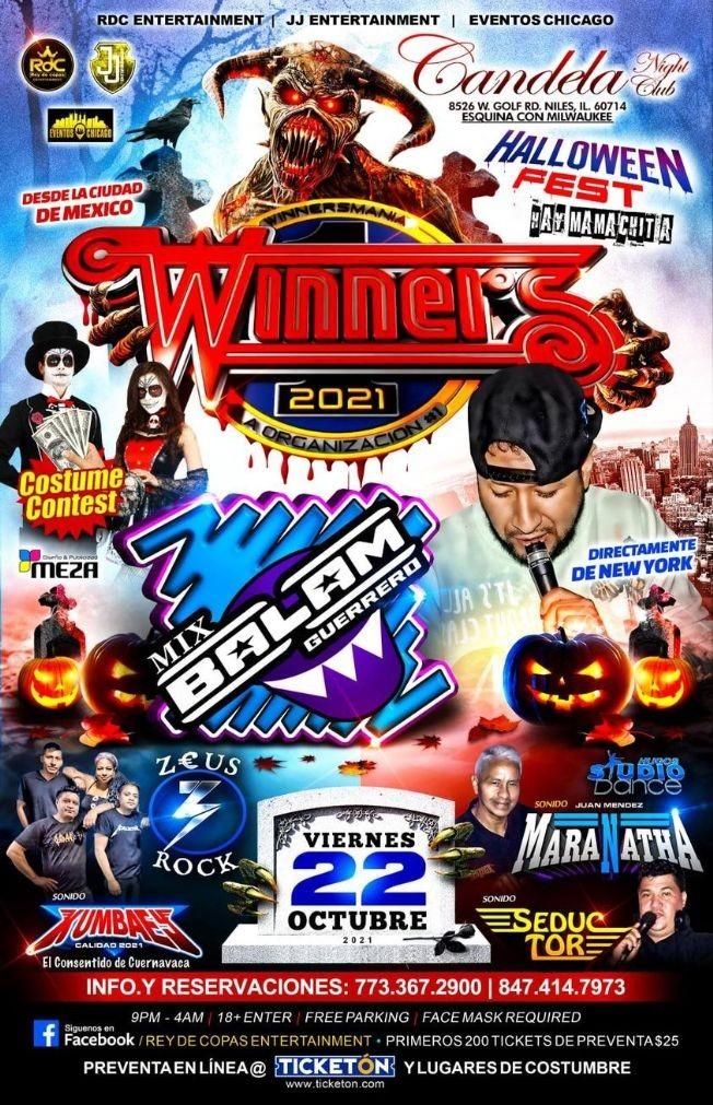 Flyer for HALLOWEEN FEST -  SONIDO WINNERS-   MIX BALAM GUERRERO  -ZEUS ROCK  -SONIDO KUMBAES - SONIDO MARANATHA - SONIDO SEDUCTOR - NILES ILLINOIS