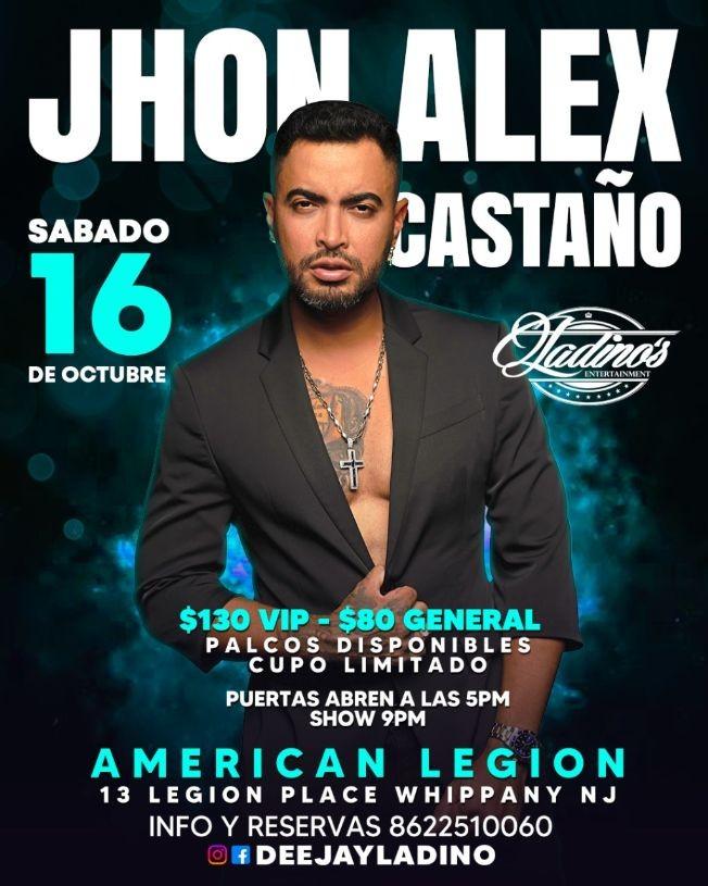 Flyer for JHON ALEX CASTAÑO EN VIVO ! WHIPPANY NEW JERSEY