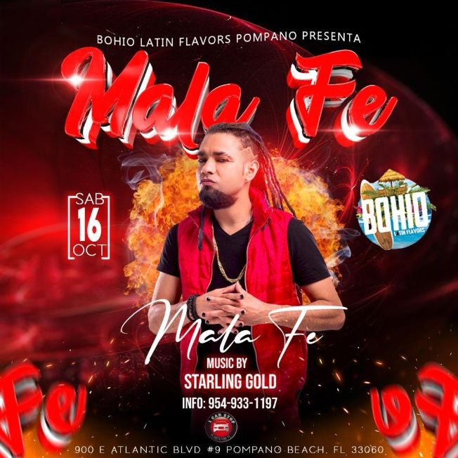 Flyer for Mala Fe @Bohio Latin Flavors Pompano