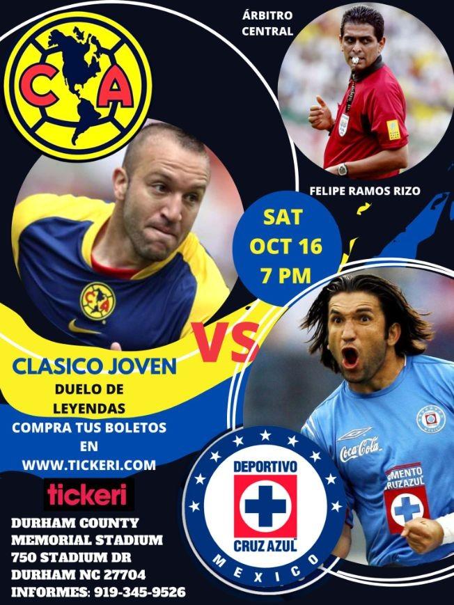 Flyer for AMERICA vs CRUZ AZUL CLASICO JOVEN DE LEYENDAS