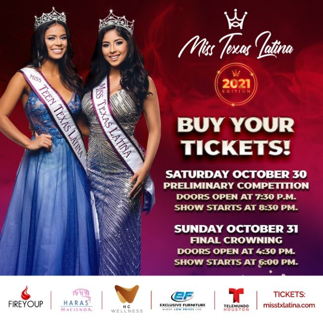 Flyer for Final Crowning Night - Miss Texas Latina 2021
