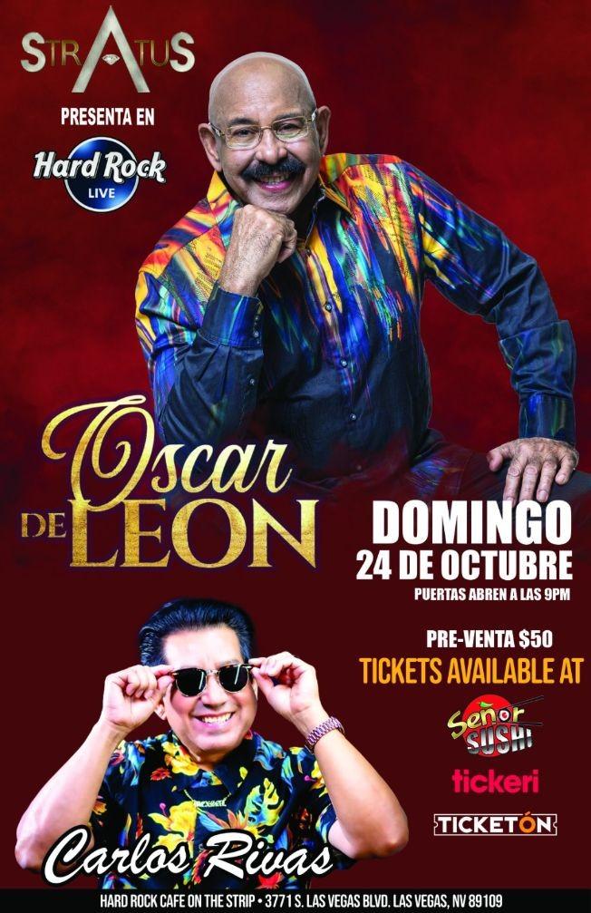 """Flyer for OSCAR D LEON """" EL SONERO DEL MUNDO """", CARLOS RIVAS """" EL PAPI CHULO DE LA SALSA """" EN CONCIERTO !  LAS VEGAS NEVADA"""