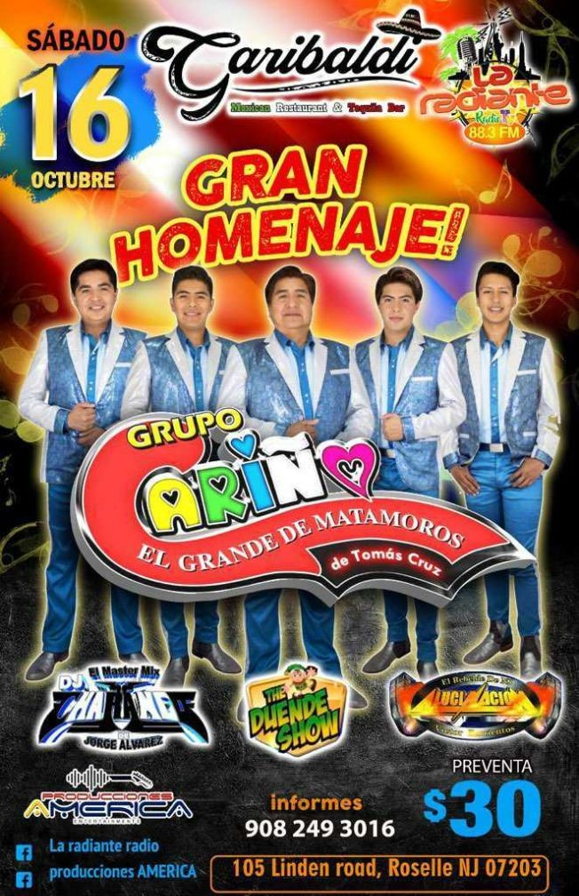"Flyer for GRUPO CARIÑO "" EL GRANDE DE MATAMOROS "" EN VIVO ! ROSELLE NEW JERSEY"