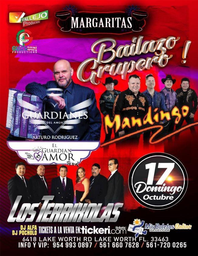 Flyer for GUARDIANES DEL AMOR ARTURO RODRIGUEZ, GRUPO MANDINGO, LOS TERRIKOLAS EN VIVO ! LAKE WORTH FLORIDA