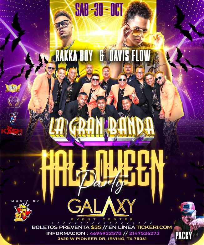 Flyer for LA GRAN BANDA DE HONDURAS - RAKKA BOY - DAVIS FLOW EN CONCIERTO - HALLOWEEN PARTY - DALLAS TEXAS (dja)