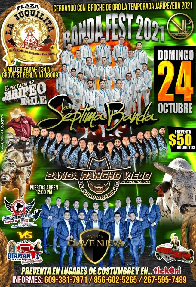 Flyer for Banda Fest 2021 : La Septima Banda, Banda Rancho Viejo, Banda Clave Nueva - BERLIN, NJ