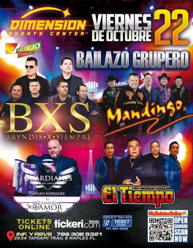 Flyer for BXS BRYNDIS POR SIEMPRE, GRUPO MANDINGO, GUARDIANES DEL AMOR DE ARTURO RODRIGUEZ, HUGO GOMEZ Y SU GRUPO EL TIEMPO  EN CONCIERTO ! NAPLES FLORIDA