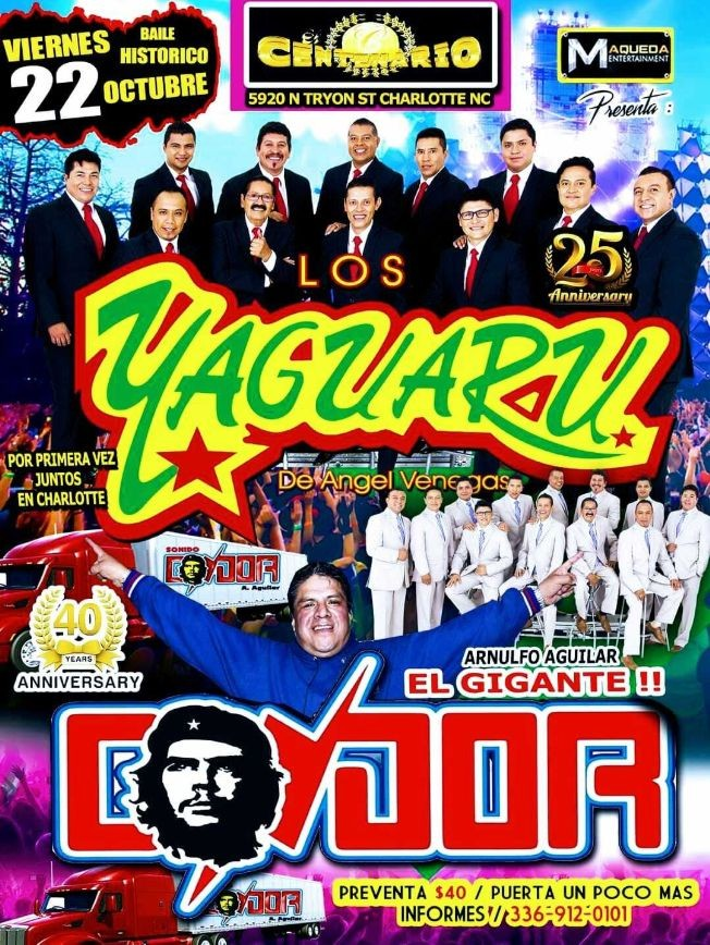 Flyer for LOS YAGUARU DE ANGEL VENEGAS EN VIVO ! CHARLOTTE NORTH CAROLINA