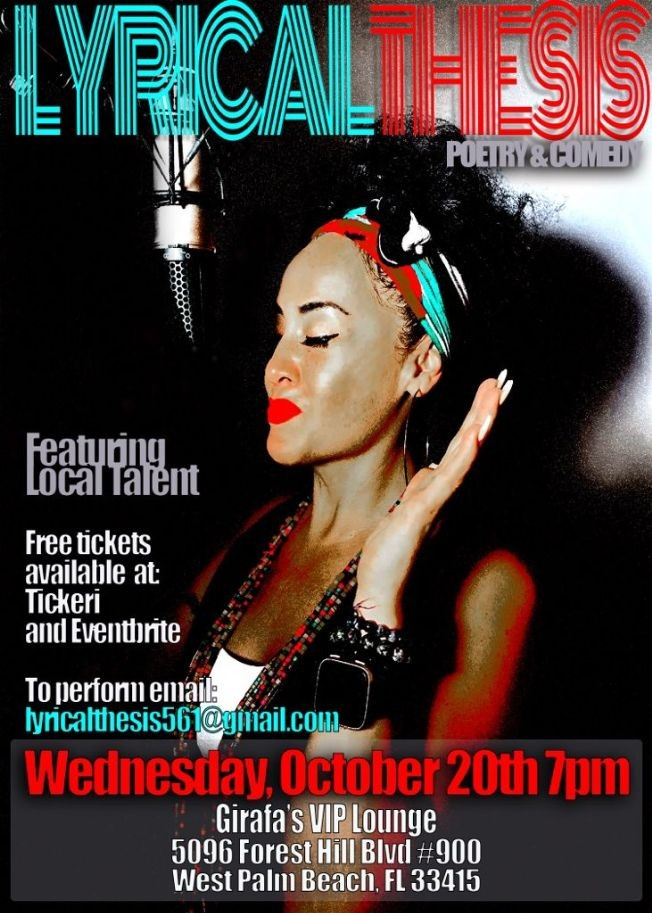 Flyer for Lyrical Thesis A Night of Poetry & Comedy