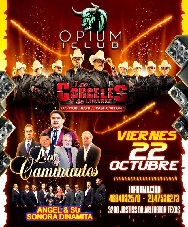 Flyer for LOS CORCELES DE LINARES  - LOS CAMINANTES -  ANGEL Y SU SONORA DINAMITA - ARLINGTON TEXAS