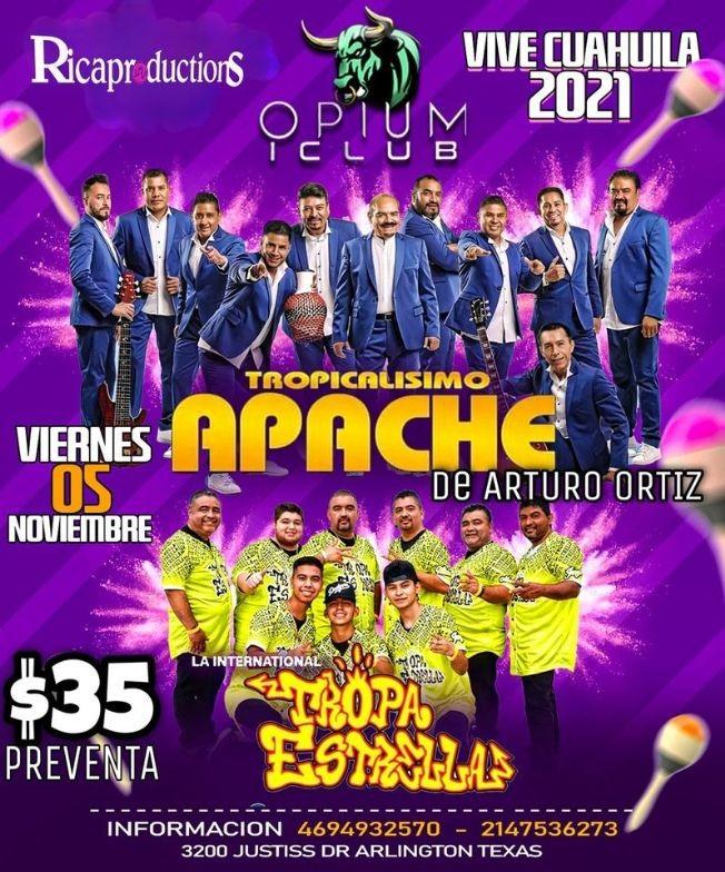Flyer for TROPICALISIMO APACHE - LA INTERNACIONAL TROPA ESTRELLAS- VIVA CUAHULA 2021- ARLINGTON TEXAS