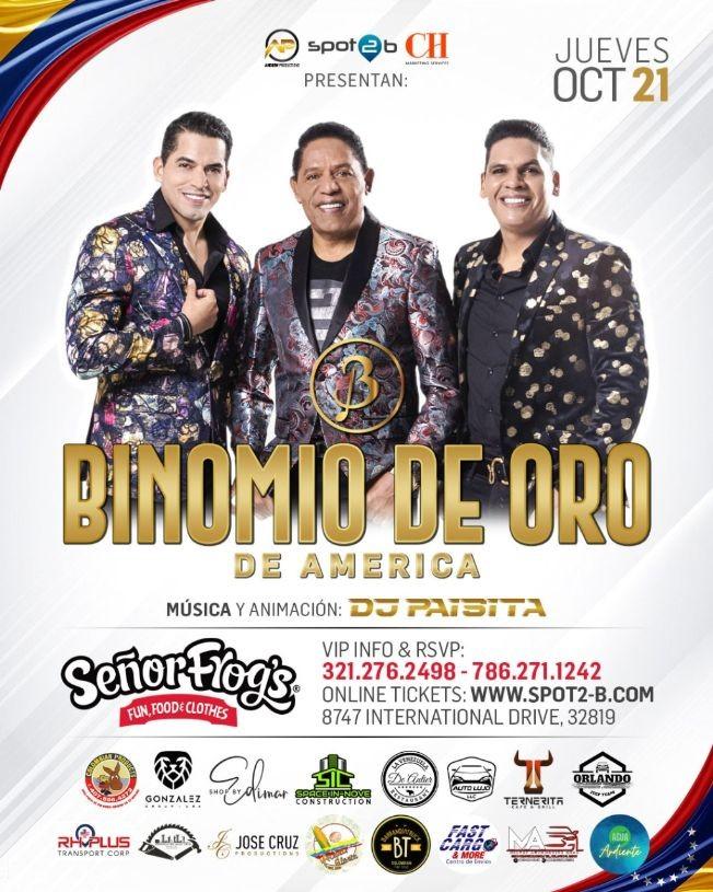 Flyer for 2NIGHT BINOMIO DE ORO EN ORLANDO FLORIDA