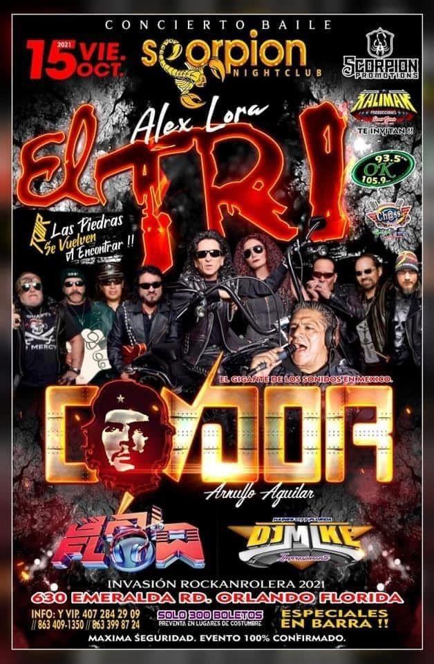 """Flyer for EL TRI """" TOUR LAS PIEDRAS SE VUELVEN A ENCONTRAR """" EN VIVO ! ORLANDO FLORIDA"""