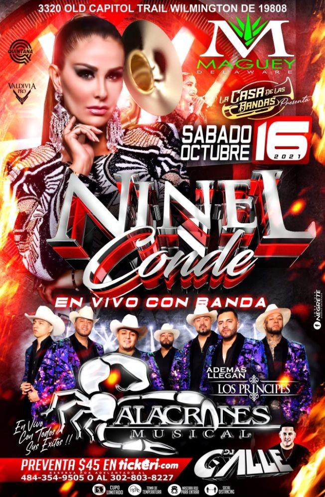Flyer for NINEL CONDE Y ALACRANES MUSICAL EN VIVO ! WILMINGTON DE.