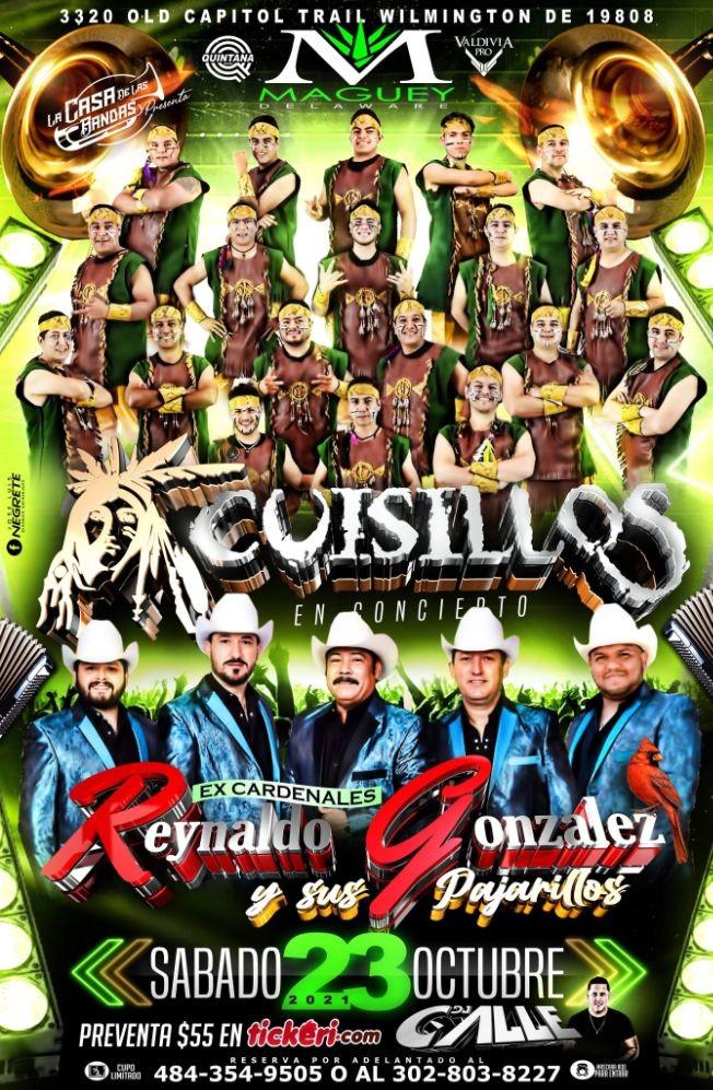 Flyer for BANDA CUISILLOS Y REYNALDO GONZALES Y SUS PAJARITOS EN VIVO ! WILMINGTON DE.