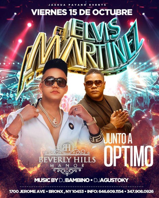 Flyer for ELVIS MARTINEZ & OPTIMO EN VIVO ! BRONX NY.