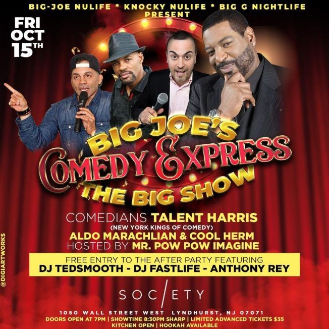 Flyer for Big Joe Comedy Express The Big Show At Society Lounge